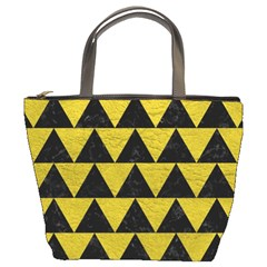 Triangle2 Black Marble & Yellow Leather Bucket Bags by trendistuff