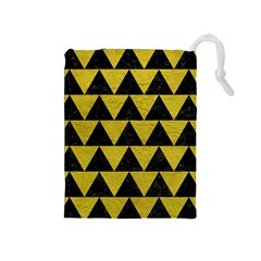 Triangle2 Black Marble & Yellow Leather Drawstring Pouches (medium)  by trendistuff