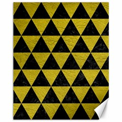 Triangle3 Black Marble & Yellow Leather Canvas 11  X 14   by trendistuff