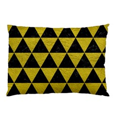 Triangle3 Black Marble & Yellow Leather Pillow Case by trendistuff