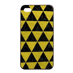 Triangle3 Black Marble & Yellow Leather Apple Iphone 4/4s Seamless Case (black) by trendistuff
