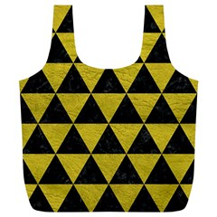 Triangle3 Black Marble & Yellow Leather Full Print Recycle Bags (l)  by trendistuff