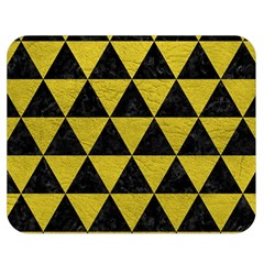 Triangle3 Black Marble & Yellow Leather Double Sided Flano Blanket (medium)  by trendistuff