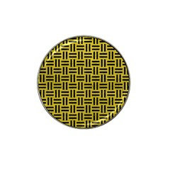 Woven1 Black Marble & Yellow Leather Hat Clip Ball Marker by trendistuff
