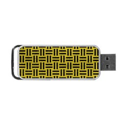 Woven1 Black Marble & Yellow Leather Portable Usb Flash (two Sides) by trendistuff