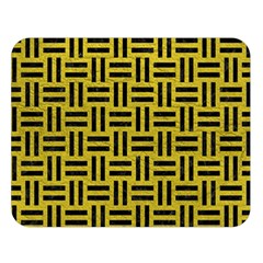 Woven1 Black Marble & Yellow Leather Double Sided Flano Blanket (large)  by trendistuff