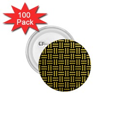 Woven1 Black Marble & Yellow Leather (r) 1 75  Buttons (100 Pack)  by trendistuff