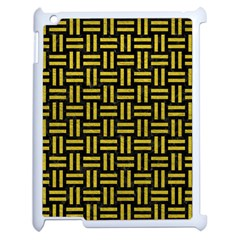 Woven1 Black Marble & Yellow Leather (r) Apple Ipad 2 Case (white) by trendistuff