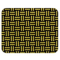 Woven1 Black Marble & Yellow Leather (r) Double Sided Flano Blanket (medium)  by trendistuff