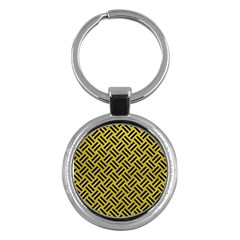 Woven2 Black Marble & Yellow Leather Key Chains (round)  by trendistuff