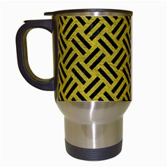 Woven2 Black Marble & Yellow Leather Travel Mugs (white) by trendistuff