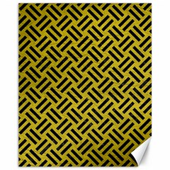 Woven2 Black Marble & Yellow Leather Canvas 11  X 14   by trendistuff