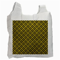 Woven2 Black Marble & Yellow Leather Recycle Bag (two Side)  by trendistuff