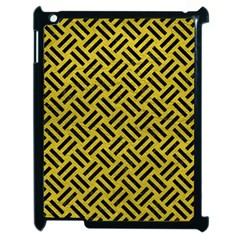 Woven2 Black Marble & Yellow Leather Apple Ipad 2 Case (black) by trendistuff