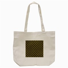 Woven2 Black Marble & Yellow Leather (r) Tote Bag (cream) by trendistuff