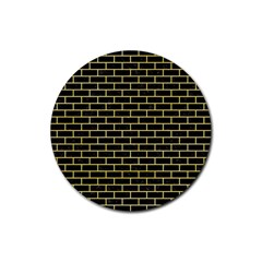 Brick1 Black Marble & Yellow Watercolor (r) Rubber Coaster (round)  by trendistuff