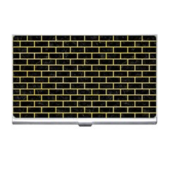 Brick1 Black Marble & Yellow Watercolor (r) Business Card Holders