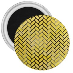 Brick2 Black Marble & Yellow Watercolor 3  Magnets