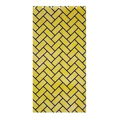 Brick2 Black Marble & Yellow Watercolor Shower Curtain 36  X 72  (stall)  by trendistuff