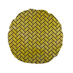 Brick2 Black Marble & Yellow Watercolor Standard 15  Premium Flano Round Cushions by trendistuff