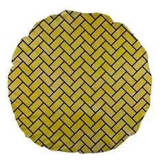 Brick2 Black Marble & Yellow Watercolor Large 18  Premium Flano Round Cushions by trendistuff