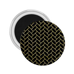Brick2 Black Marble & Yellow Watercolor (r) 2 25  Magnets by trendistuff