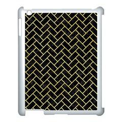 Brick2 Black Marble & Yellow Watercolor (r) Apple Ipad 3/4 Case (white) by trendistuff