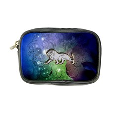 Wonderful Lion Silhouette On Dark Colorful Background Coin Purse by FantasyWorld7