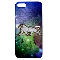Wonderful Lion Silhouette On Dark Colorful Background Apple Iphone 5 Hardshell Case With Stand by FantasyWorld7