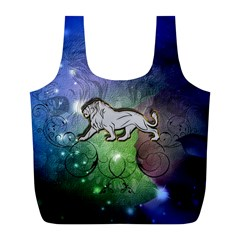 Wonderful Lion Silhouette On Dark Colorful Background Full Print Recycle Bags (l)  by FantasyWorld7