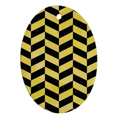 Chevron1 Black Marble & Yellow Watercolor Ornament (oval) by trendistuff