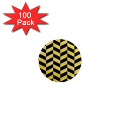 Chevron1 Black Marble & Yellow Watercolor 1  Mini Magnets (100 Pack)  by trendistuff