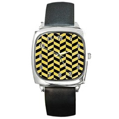 Chevron1 Black Marble & Yellow Watercolor Square Metal Watch by trendistuff