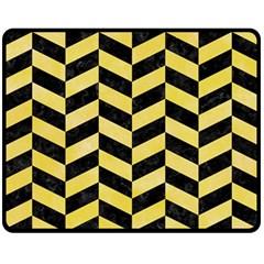 Chevron1 Black Marble & Yellow Watercolor Fleece Blanket (medium)  by trendistuff