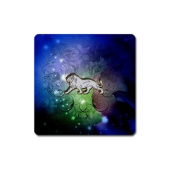 Wonderful Lion Silhouette On Dark Colorful Background Square Magnet by FantasyWorld7