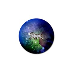Wonderful Lion Silhouette On Dark Colorful Background Golf Ball Marker (4 Pack) by FantasyWorld7