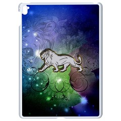 Wonderful Lion Silhouette On Dark Colorful Background Apple Ipad Pro 9 7   White Seamless Case by FantasyWorld7