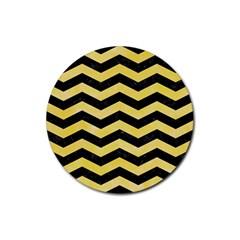 Chevron3 Black Marble & Yellow Watercolor Rubber Coaster (round)  by trendistuff