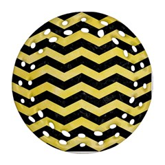 Chevron3 Black Marble & Yellow Watercolor Round Filigree Ornament (two Sides) by trendistuff