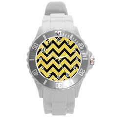 Chevron9 Black Marble & Yellow Watercolor Round Plastic Sport Watch (l) by trendistuff