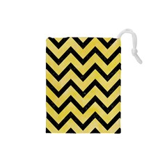 Chevron9 Black Marble & Yellow Watercolor Drawstring Pouches (small)  by trendistuff