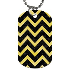 Chevron9 Black Marble & Yellow Watercolor (r) Dog Tag (two Sides)
