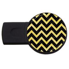 Chevron9 Black Marble & Yellow Watercolor (r) Usb Flash Drive Round (4 Gb) by trendistuff