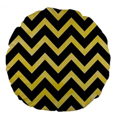 Chevron9 Black Marble & Yellow Watercolor (r) Large 18  Premium Flano Round Cushions by trendistuff