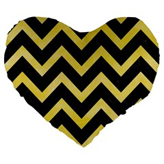 Chevron9 Black Marble & Yellow Watercolor (r) Large 19  Premium Flano Heart Shape Cushions by trendistuff