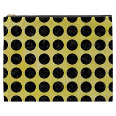 Circles1 Black Marble & Yellow Watercolor Cosmetic Bag (xxxl)  by trendistuff