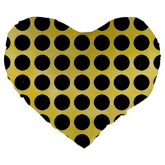 Circles1 Black Marble & Yellow Watercolor Large 19  Premium Flano Heart Shape Cushions by trendistuff