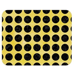 Circles1 Black Marble & Yellow Watercolor Double Sided Flano Blanket (medium)  by trendistuff