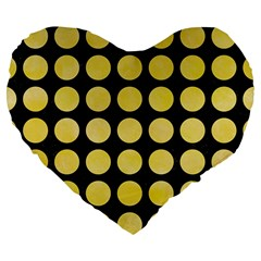 Circles1 Black Marble & Yellow Watercolor (r) Large 19  Premium Flano Heart Shape Cushions by trendistuff