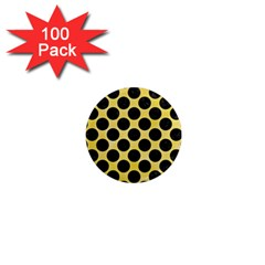 Circles2 Black Marble & Yellow Watercolor 1  Mini Magnets (100 Pack)  by trendistuff